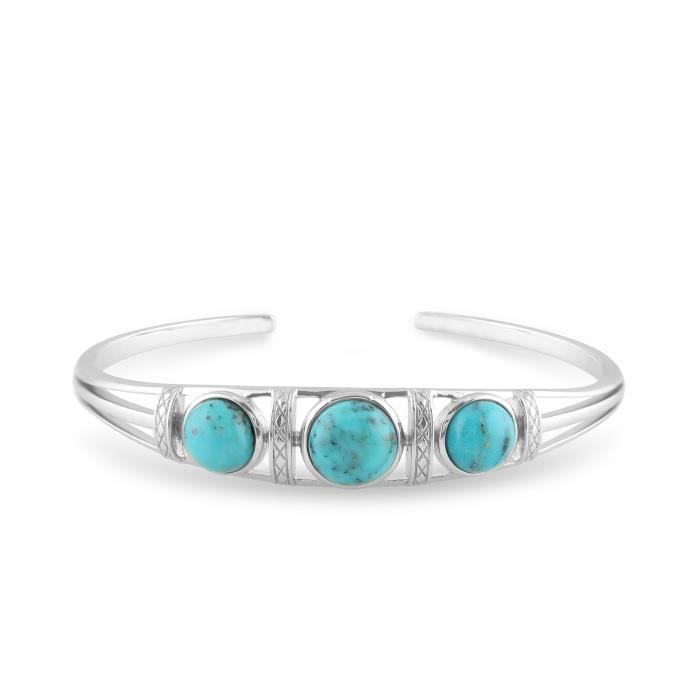 gemondo TURQUOISE BRACELET, argent sterling 5.00ct CT Turquoise Cabochon Trilogie bracelet