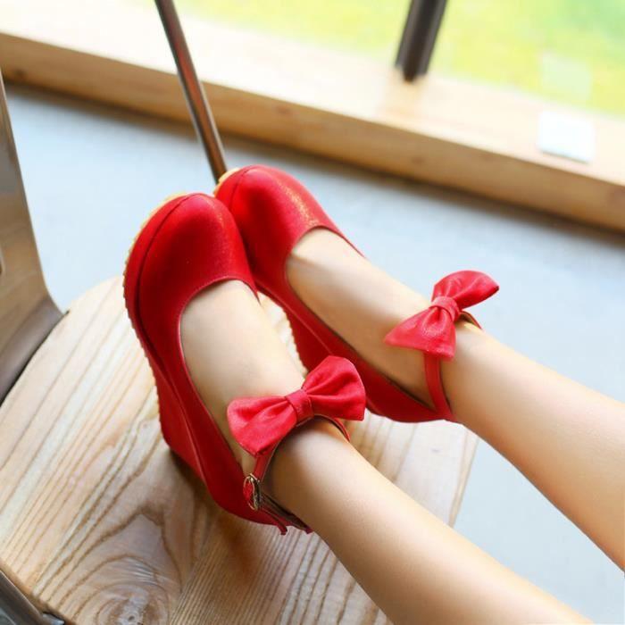 argent Wedge beige Color pure Hauts Talons Ankle Heel Sandal noir Rouge q8ZUn