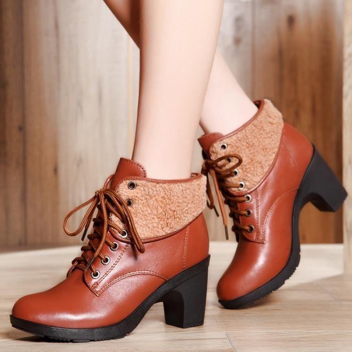 Femmes Plateforme Bottines à bout rond à lacets Chaussures d'hiver Bottes femme en cuir véritable femme Bottes automne Taille 5rnylajEi