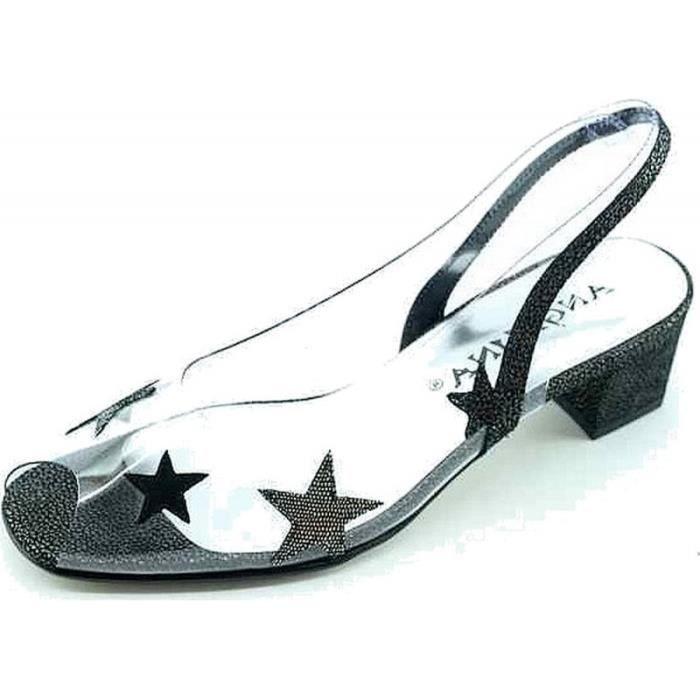 Sibylle - Escarpin transparent bout ouvert bride arrière talon chaussure Femme petites pointures marque Angelina cristal noir
