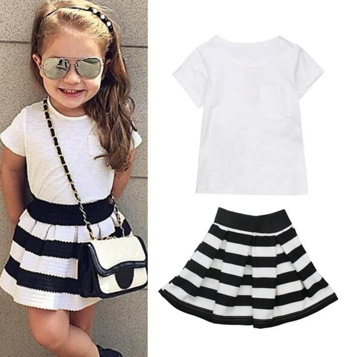2ceb258ace5ec 1-6 Ans Bébé Enfant Fille 2 Pcs Ensemble de Vêtement Mode   T-shirt Blanc  Manche Courte + Jupe à Raies