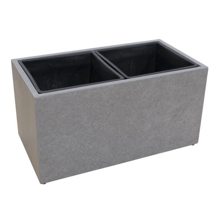 Cache Pot En Fibre De Ciment 37x69x37cm Gris Achat Vente