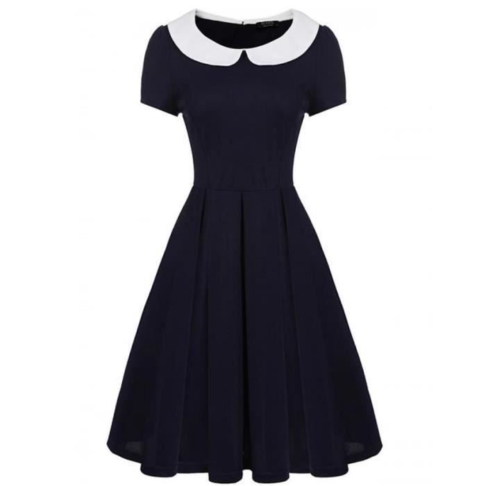 Femmes Robe A-Line Casual Vintage Short Sleeve Contraste Color Doll Colla