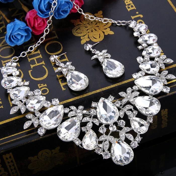 EVER FAITH® Femme Bohême Cristal Floral Goutte Mariage StatementCollier Plastron Pendante Boucles doreilleBijou Ensemble Claire