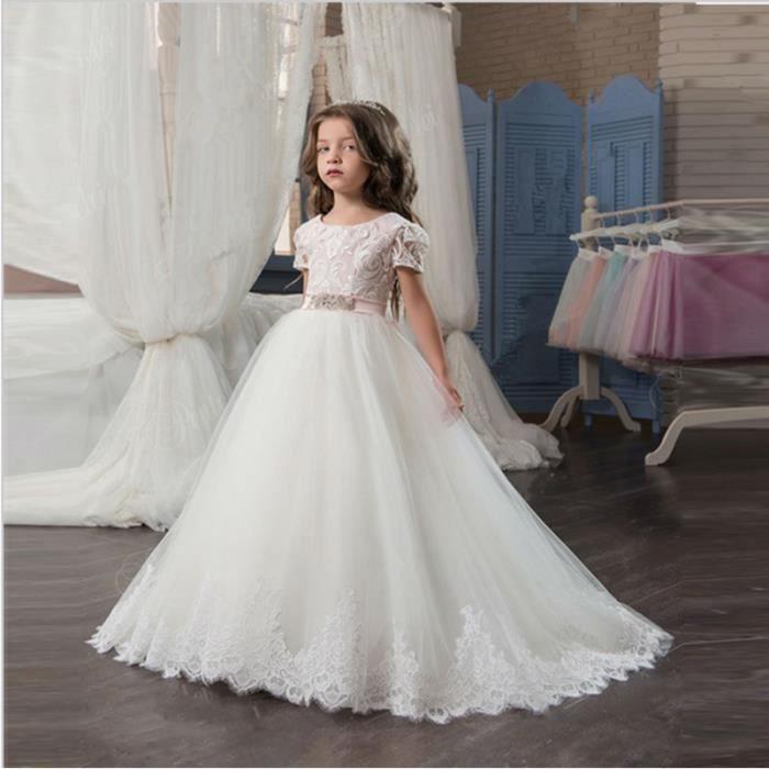 Vente chaude Nouvelle Arrivée élégante Fleur Fille Robe Pour Le Mariage dentelle appliques Avec Sash Manches Courtes robe de Bal ...