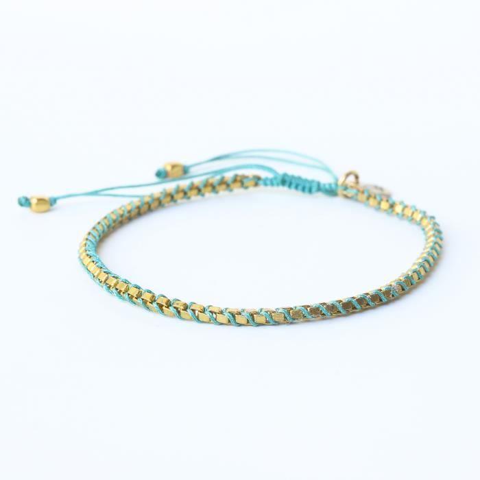 Belle Amitié réglable Femmes Bracelet ficelle de coton tissé avec plaqué or sur laiton (Turq FTD3N