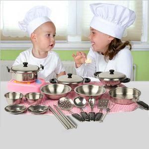 DINETTE - CUISINE 20pcs inox pots casseroles ustensiles miniature jo