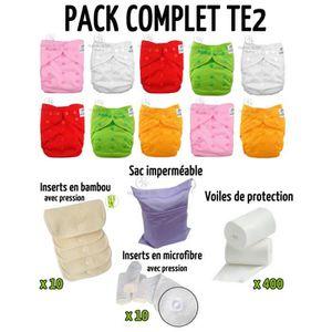 COUCHE LAVABLE Pack complet : lot de 10 couches lavables TE2 + in