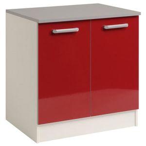 meuble sous vier sous vier avec 2 portes coloris rouge 80 x 60 x