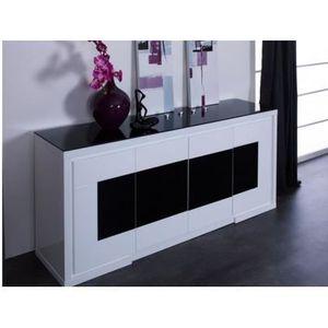 Buffet KIBO - MDF laqué blanc & noir & verre tr... - Achat / Vente ...