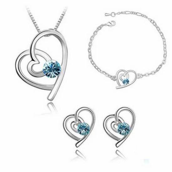 CO Régler bijoux Femme- cristal - argent 925- amour - Collier Bracelet Boucles doreilles