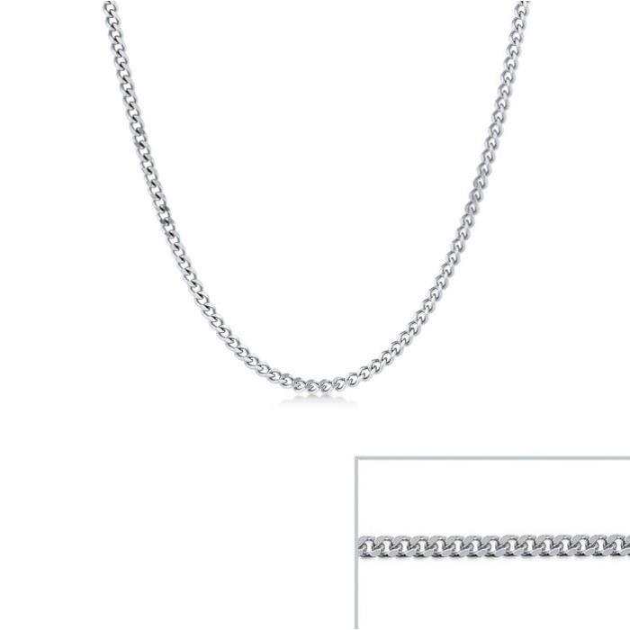 Chaine argent maille Gourmette largeur 2mm (50 cm)