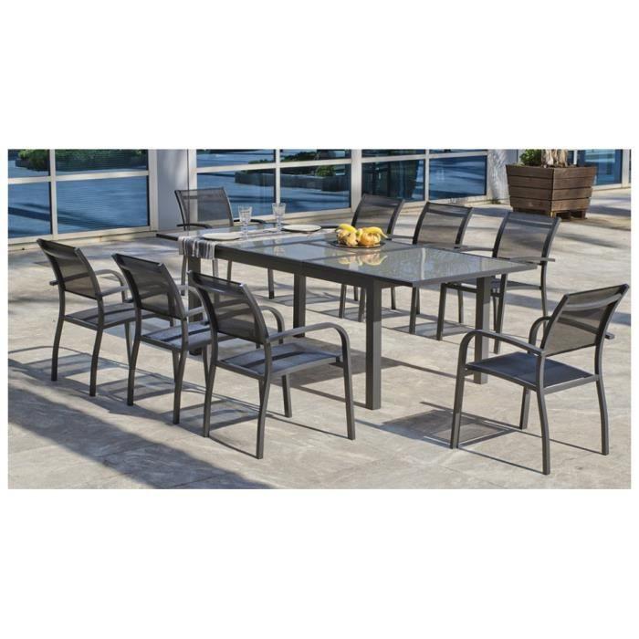 Ensemble jardin textilène anthacite et verre trempé 8 fauteuils 1 ...