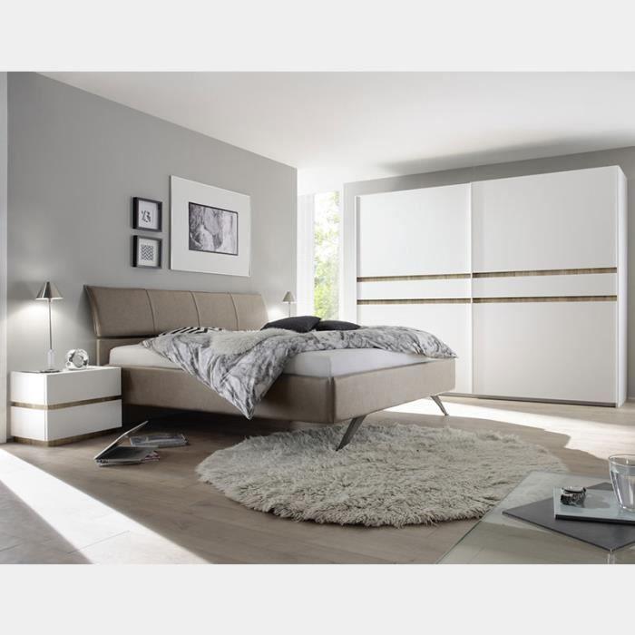 Chambre adulte blanc laqué et bois LINUS 2 L 160 X P 200 cm - Achat ...
