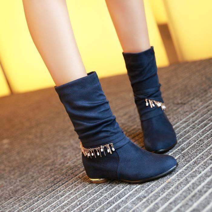 martin boots-Pure Color d coration int rieure Heighten M tal Laine Bottes femme SUvisJ1q
