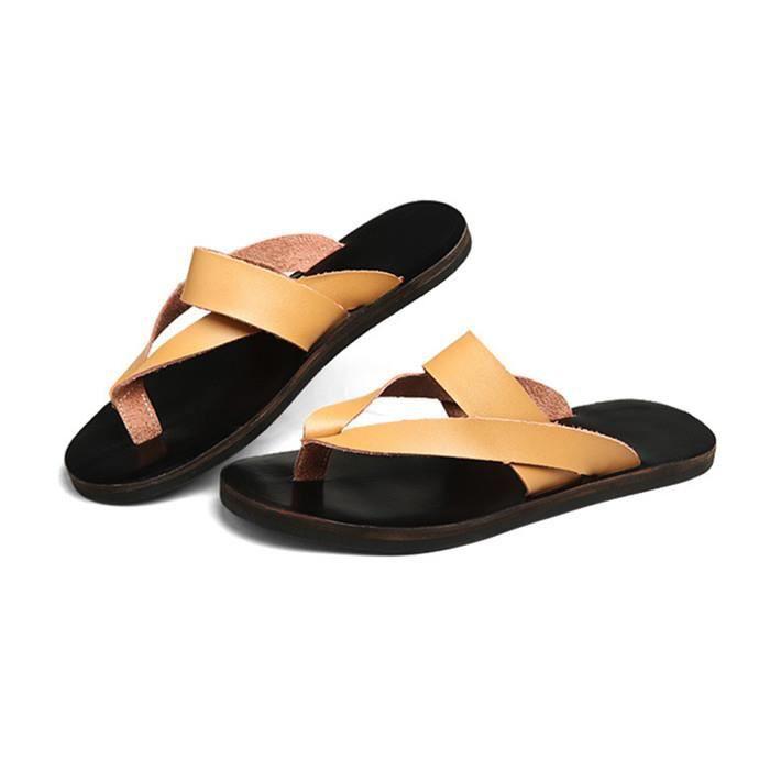 Husk'Sware® Hommes sandales pantoufles en cuir ...