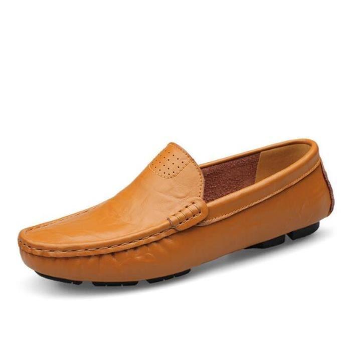 chaussure hommes De Marque De Luxe 2017 ete En Cuir Travail à la main Qualité Supérieure Moccasin Antidérapant Grande Taille