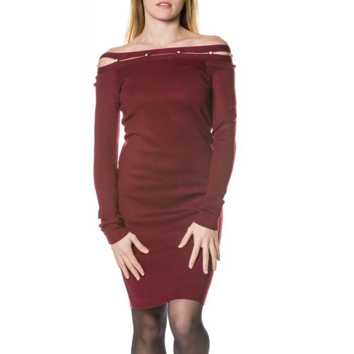 Robe pull rouge perle