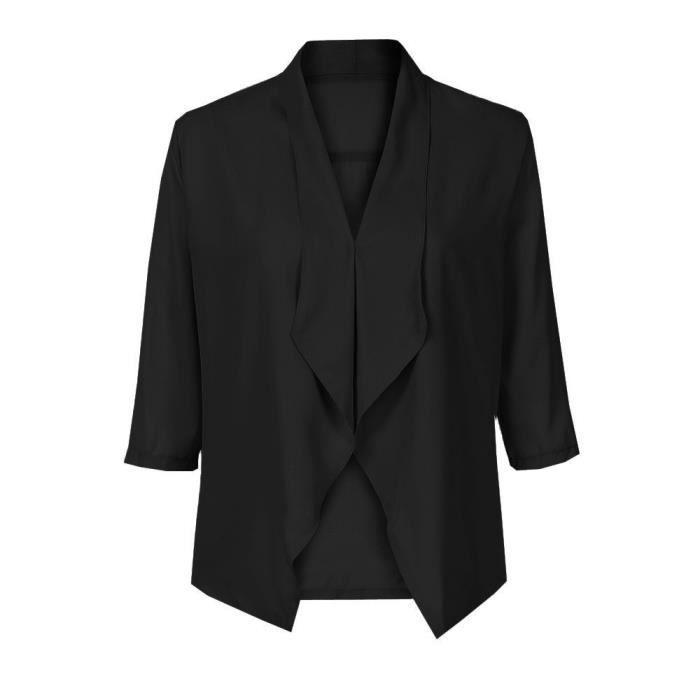 Légère 3 Solide Mousseline Manches De Cardigan En Soie Avant Comfy 4 Femmes Noir Manteau Casual Ysz80720491bkl Ouvert qXwvTWF4