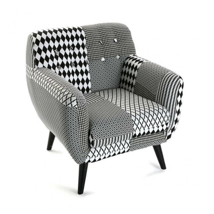 fauteuil fauteuil scandinave patchwork noir et blanc taille - Fauteuil Scandinave Patchwork