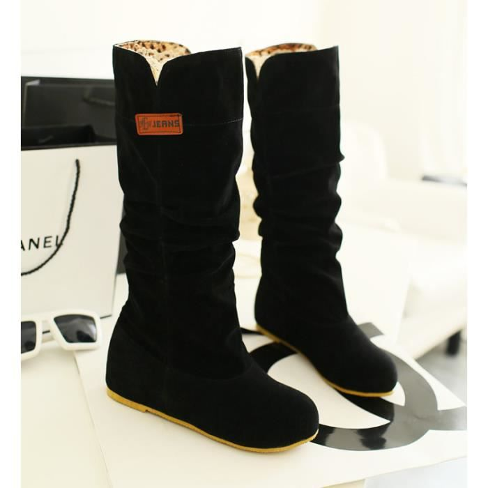 Bottes Femmes Casual Solide Suede Plat CachTa...