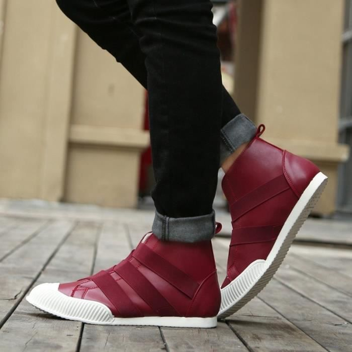 Botte Homme Korean StyleTendance High Top plates rouge taille6.5