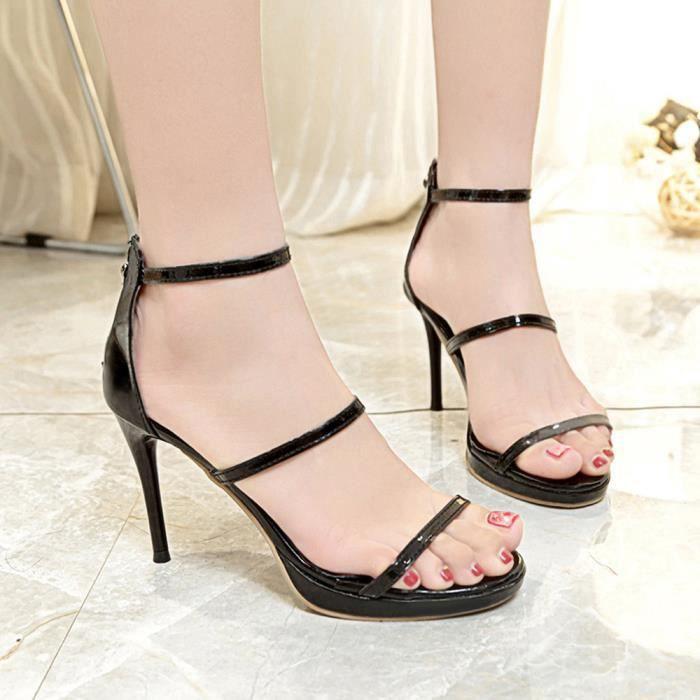 À Étanche toe Chaussures Nu pieds Plate Haut Talons Sandales Noir forme Femmes xYdUZqYw