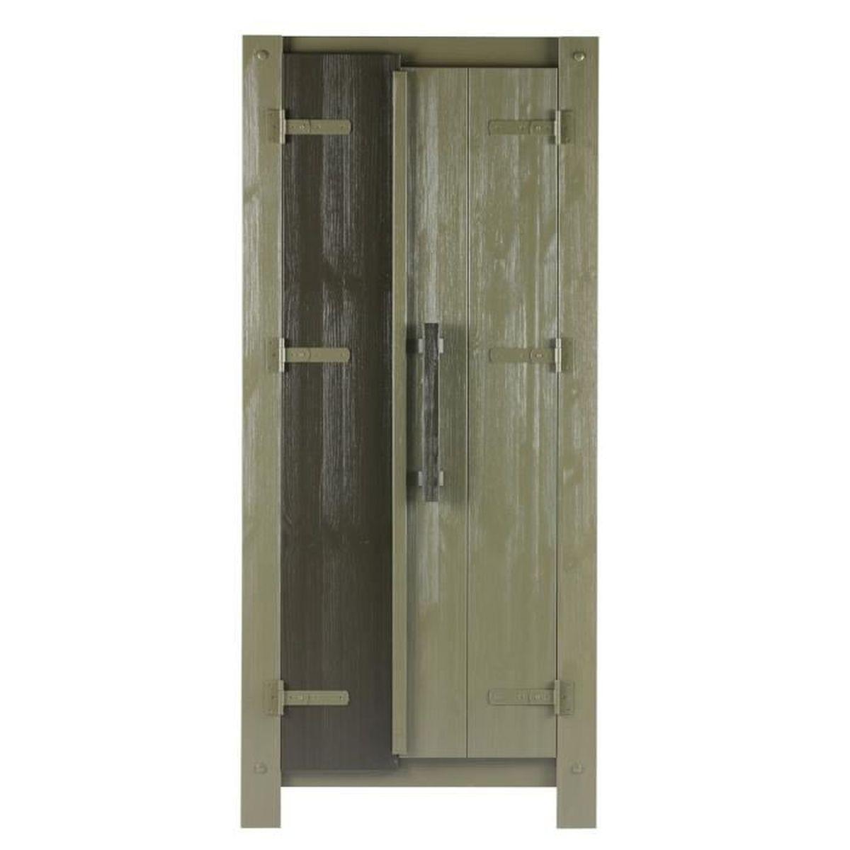 armoire enfant avec 2 portes, en pin massif brossé - dim : h 178 x l