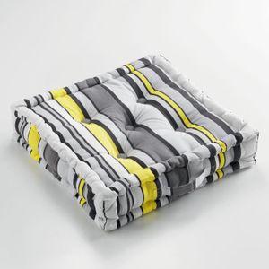 COUSSIN Coussin de sol 45 x 45 x 10 cm coton imprime marin