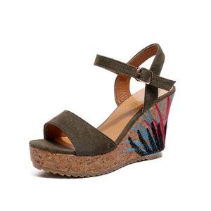 SANDALE - NU-PIEDS Bohème femmes sandales bride à la cheville plate-f