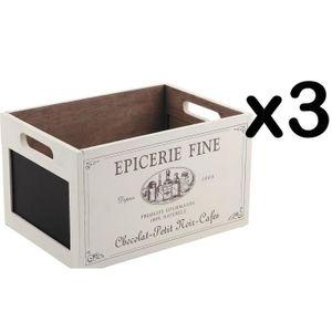 BOITE DE RANGEMENT Lot de 3 caisses de rangement en bois - Dim : 28 x