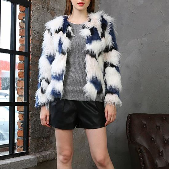 Overout Les Chaud Manteau Bleu Cardigan Femmes Hiver Parka Épais En Fourrure Veste Fausse Outwear a66Xr