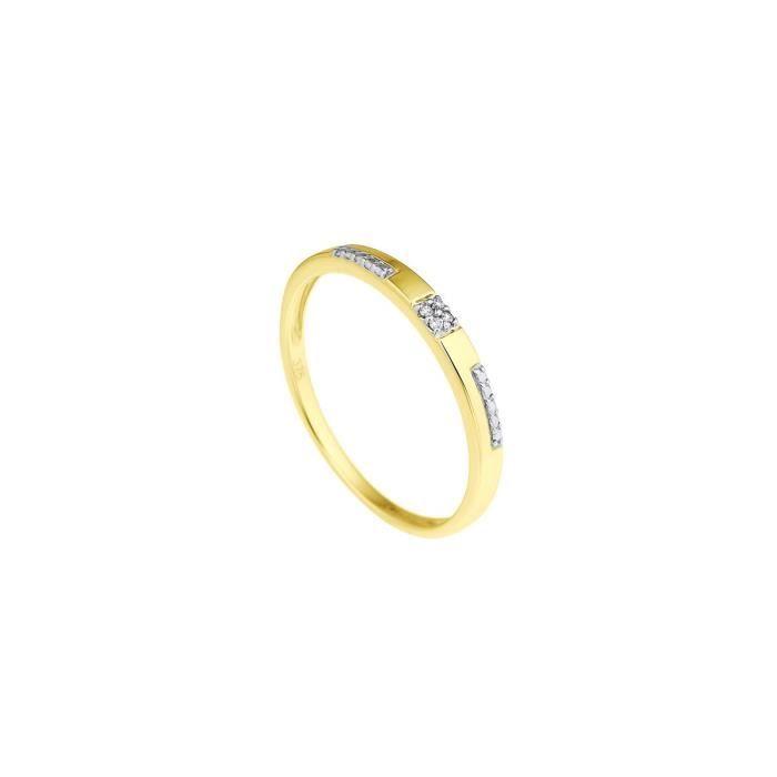 DIAMOND LANE Bague Demie-Alliance Or Jaune 375° et Diamants Femme