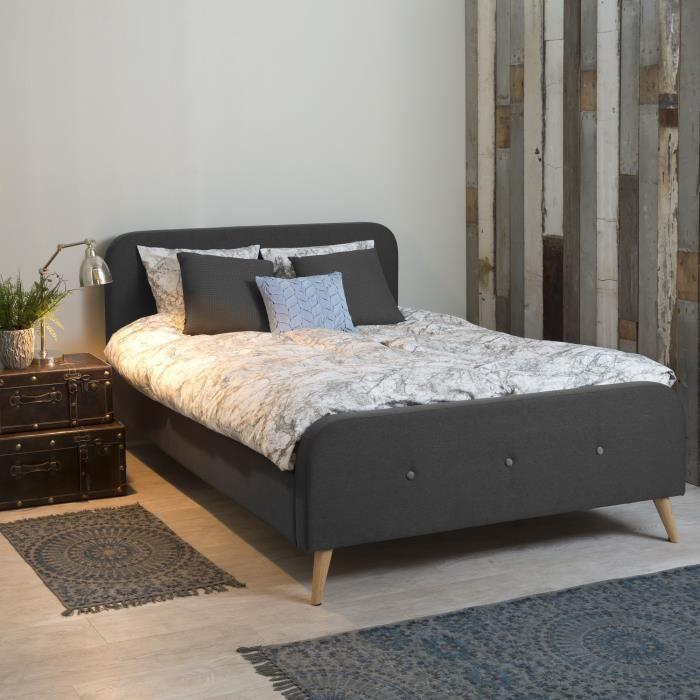 agnes lit avec t te de lit 140x200cm gris achat vente structure de lit agnes lit avec t te. Black Bedroom Furniture Sets. Home Design Ideas