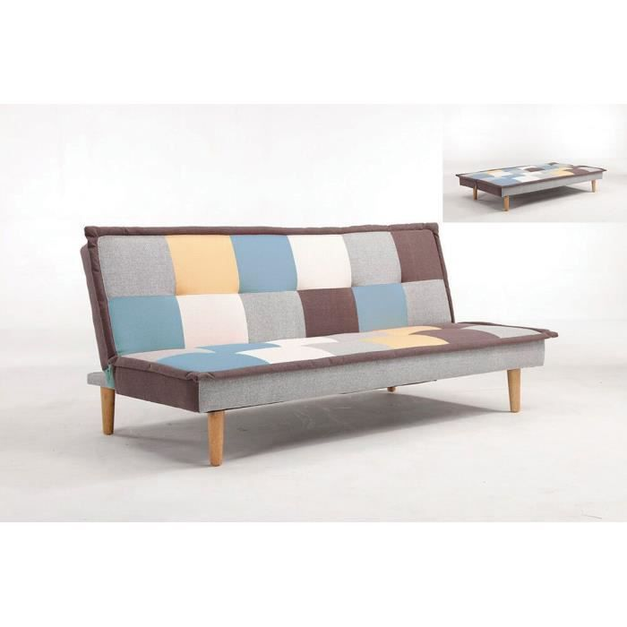 banquette clic clac convertible multicolore brad achat vente clic clac cdiscount. Black Bedroom Furniture Sets. Home Design Ideas