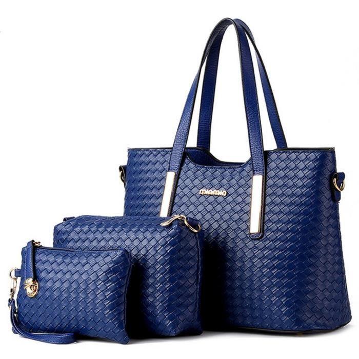 174, 3 Piece sac fourre-tout en cuir PU Weave sac à main Sacs Purse épaule KMRMU