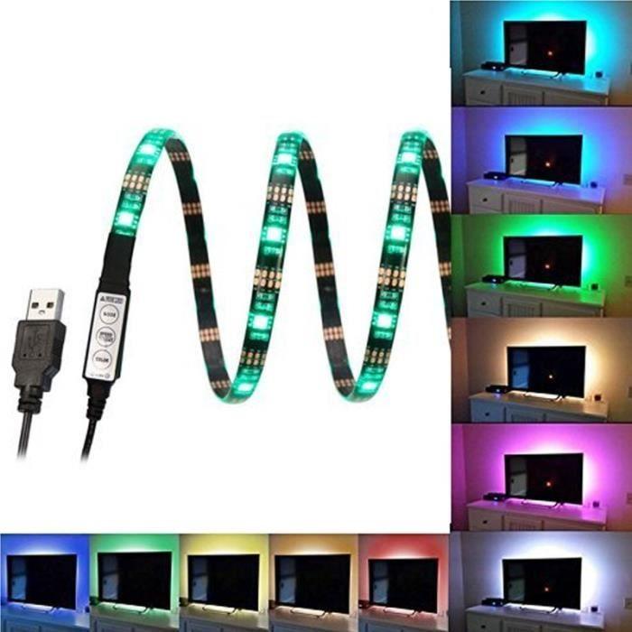 5v 1a Lampe D Ambiance Home Cinema Eclairage Usb Lampe A Rayons Led Multi Couleurs Rgb Pour Retro Eclairage De Television Salon