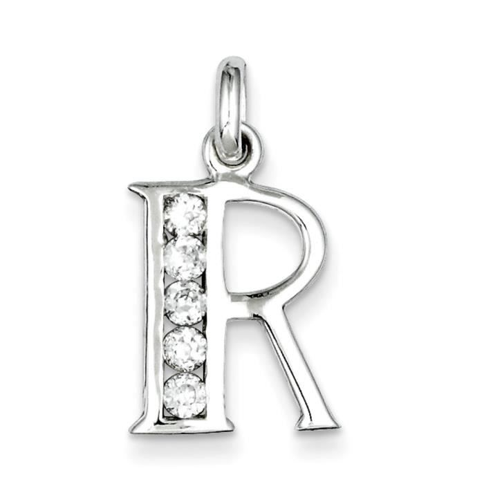 Argent Sterling CZ pendentif initiale R