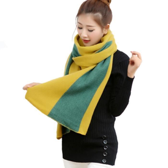 6d2392aeac71 Élégant foulard des femmes Pashmina Écharpe luxe Belle à tricoter Jaune+Vert