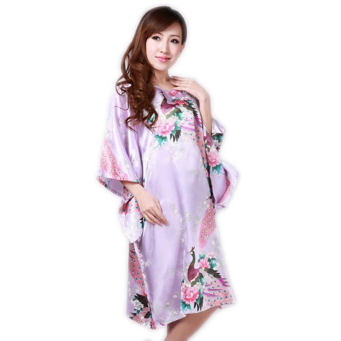 Femme pyjama chemise robe de nuit robe de chambre paon - Femmes de chambre synonyme ...