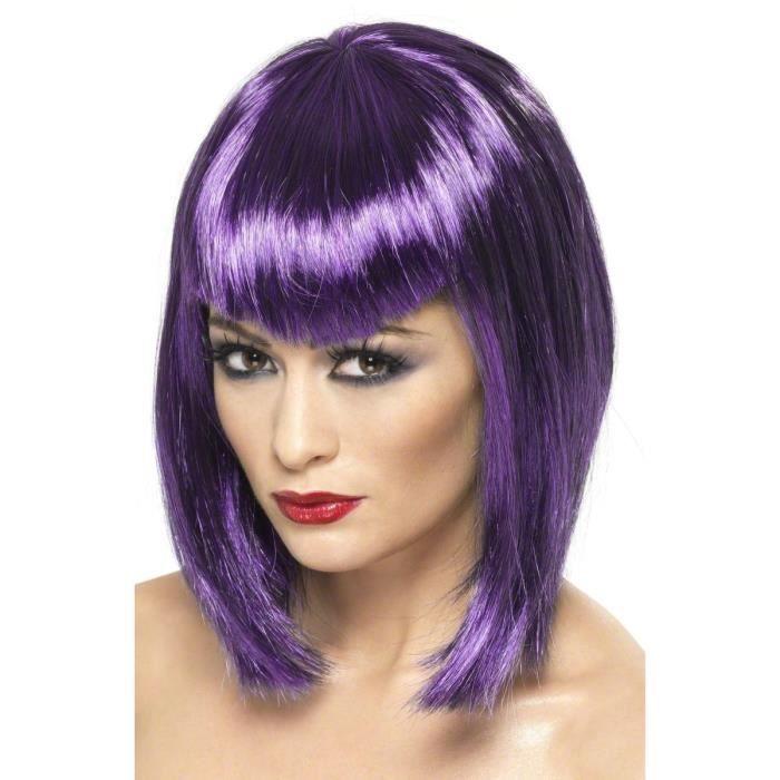 Perruque violette avec frange femme - 432