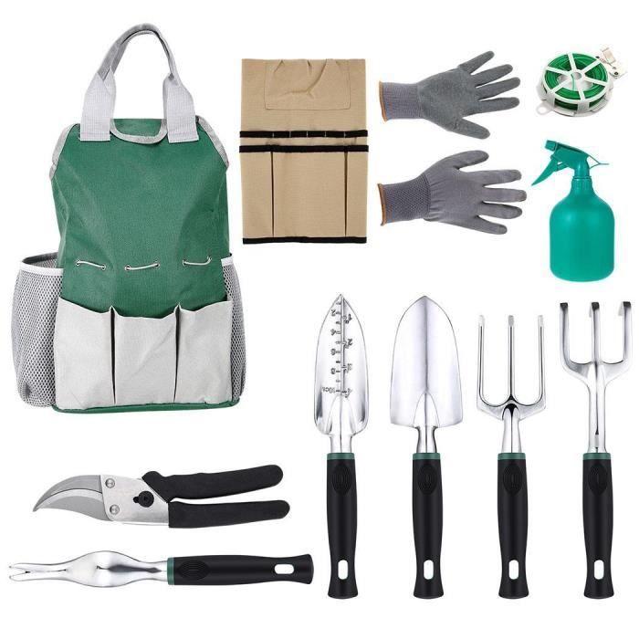 Ensemble d'outils de jardinage 11 pièces Outil Gants anti coupe Bind Line  vert
