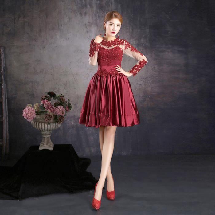 Robe courte de soiree rouge et noire