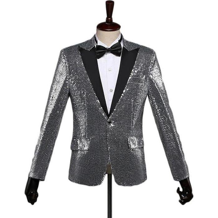 06565d3f41e7 Costume homme de Marque paillette court paragraphe coupe slim veste magique  revers classique coupe en forme Vêtement Masculin