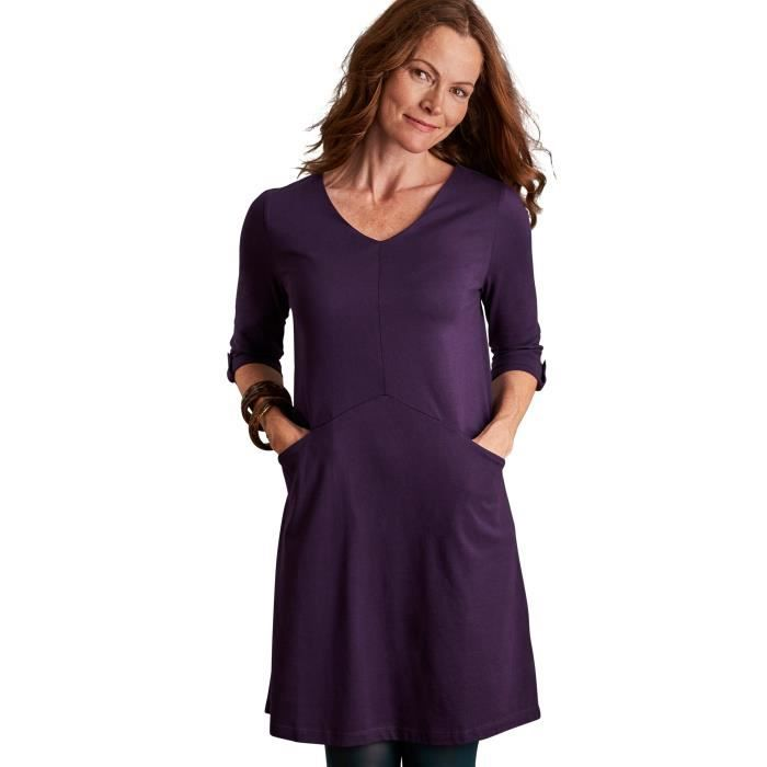 WoolOvers Robe-Tunique à manches 3-4 Femme Jersey Violet Prune ... 563b14551118