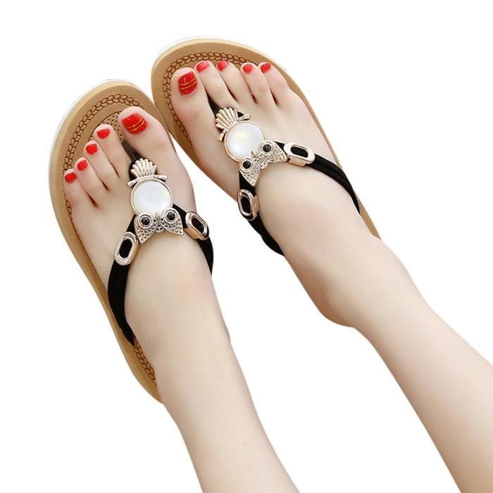 De Plage Femmes Épais Bohème Cristal Noir Fond 35 Chaussures Slipper Sandales Solides zTOTw8