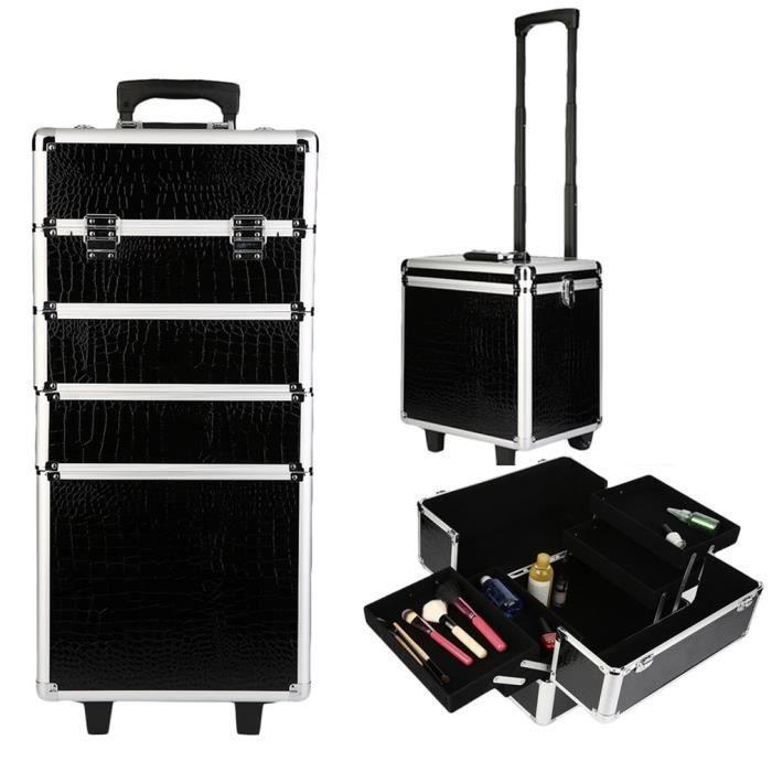 Valise Trolley esthétique,  BAGAGE Malette cosmétique,  manucure,  maquillage Vanity avec roulette, noir