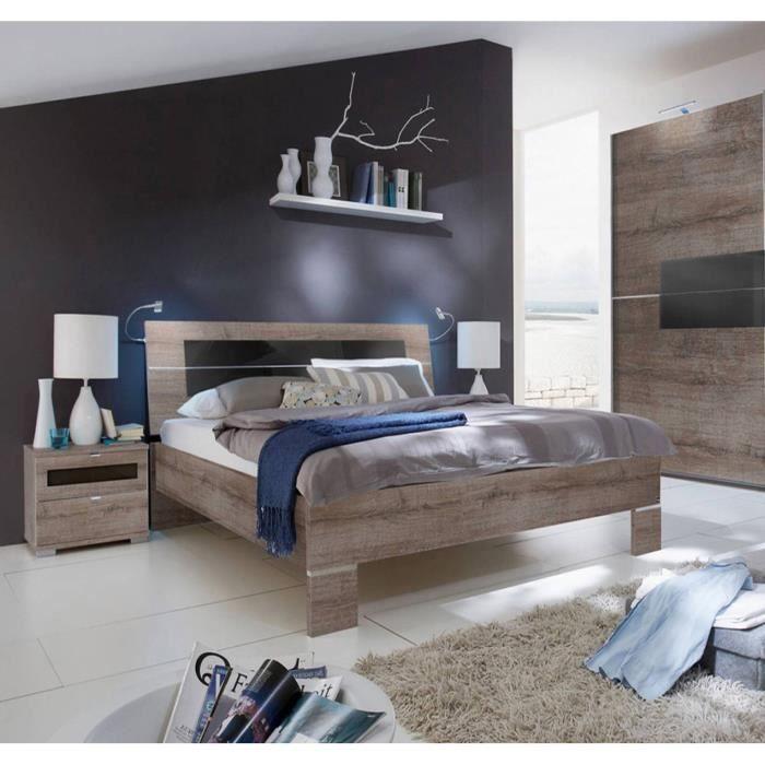 lit adulte avec 2 chevets coloris imitation ch ne chataigne dim 180 x 200 cm achat vente. Black Bedroom Furniture Sets. Home Design Ideas
