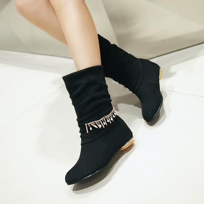 martin boots-Pure Color Low Heel Women Inside H...