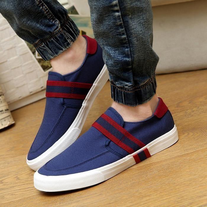 Mode d'été Respirant Mocassins Chaussures de toile pour les hommes